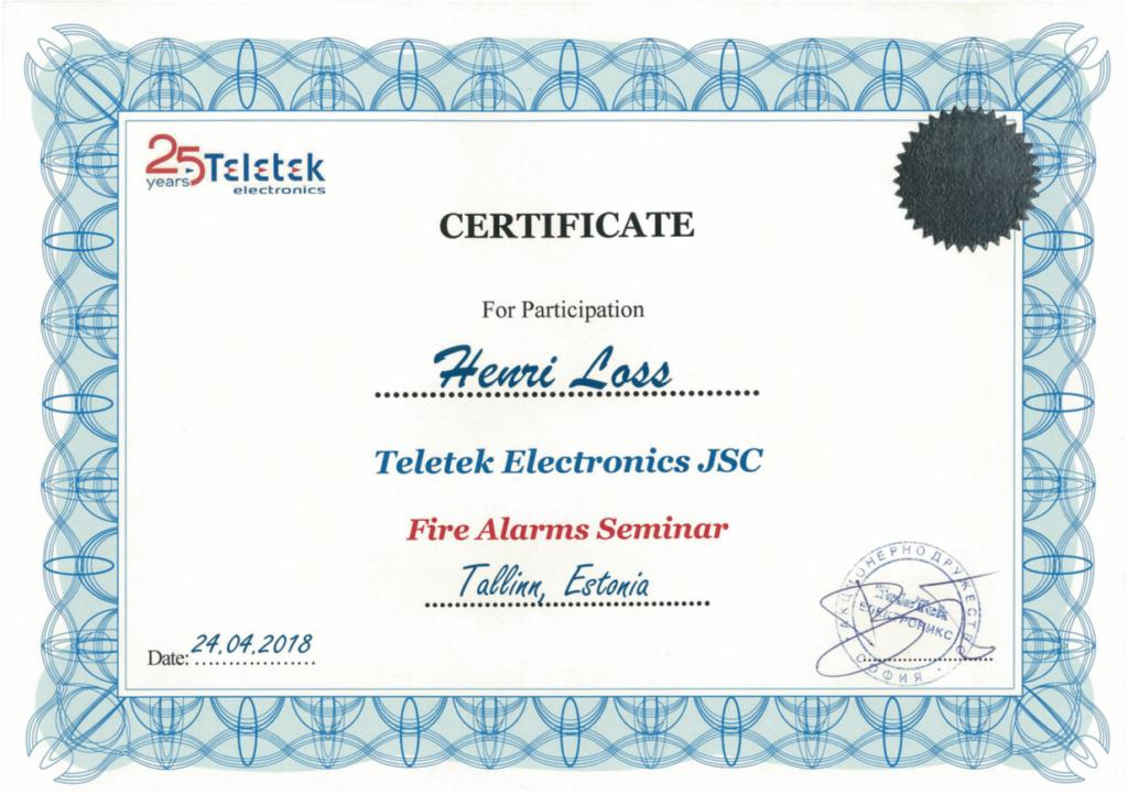 Teletek sertificate